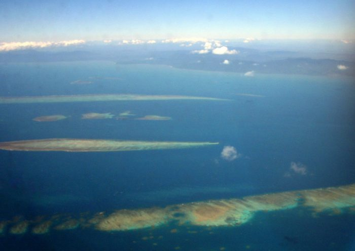 Aerial shot of the northern Great Barrier Reef. Taken by Terry Hughes on a trip to Lizard Island
