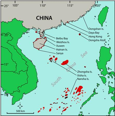 Map of the coral reefs of China and the South China Sea and the study sites from which data are reported. Sovereign right to each offshore site is disputed between a number of countries. Credits: Terry Hughes