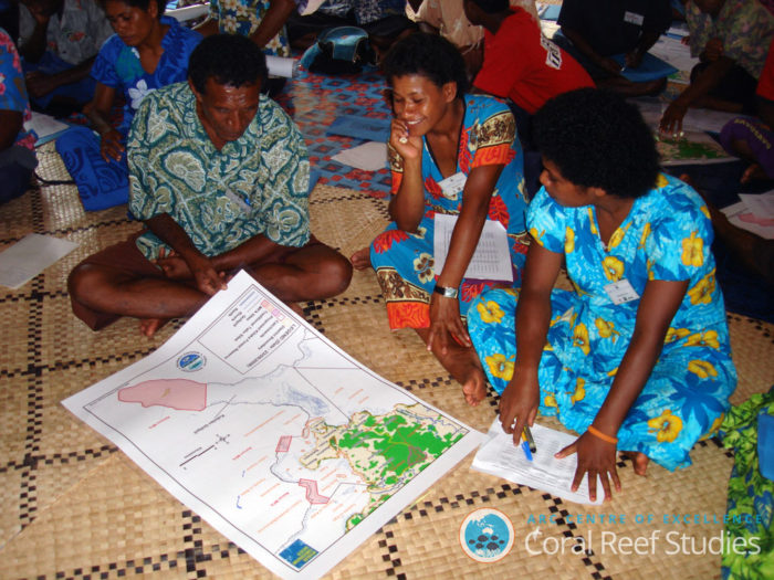 Community MPA planning in remote Kubulau, on the south coast of Vanua Levu, Fiji. Image: ARC Centre of Excellence for Coral Reef Studies