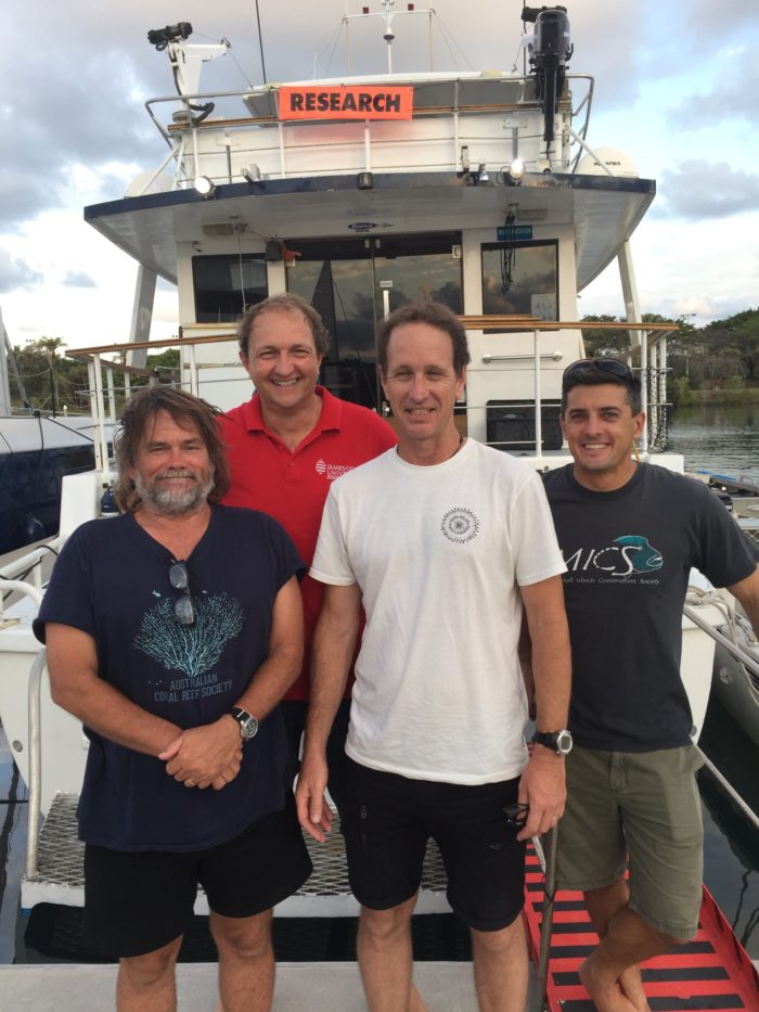 The research team heading off to sea includes (L-R)  Prof Andrew Baird, Prof Morgan Pratchett, Dr Andrew Hoey and Dr J.P. Hobbs.