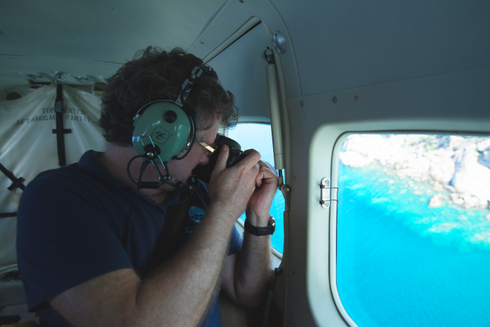 Prof Terry Hughes surveys the extent of recent bleaching along the Great Barrier Reef. Image: ARC Centre of Excellence for Coral Reef Studies.