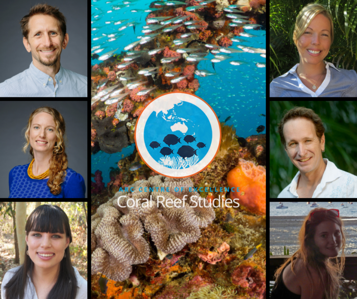 International collaboration Social-Ecological Research Frontiers won the 2020 Eureka Prize for Excellence in Interdisciplinary Scientific Research. The team was led by Coral CoE's Prof Josh Cinner (top left) and included Coral CoE collaborators Dr Michele Barnes (top right), Dr Georgina Gurney (middle left), Prof Andy Hoey  (middle right), Dr Jacqui Lau (bottom left) and PhD candidate Jessica Zamborain Mason (bottom right)..